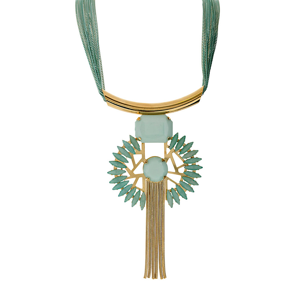 Mint Alabaster Sunburst Tassel Statement Necklace