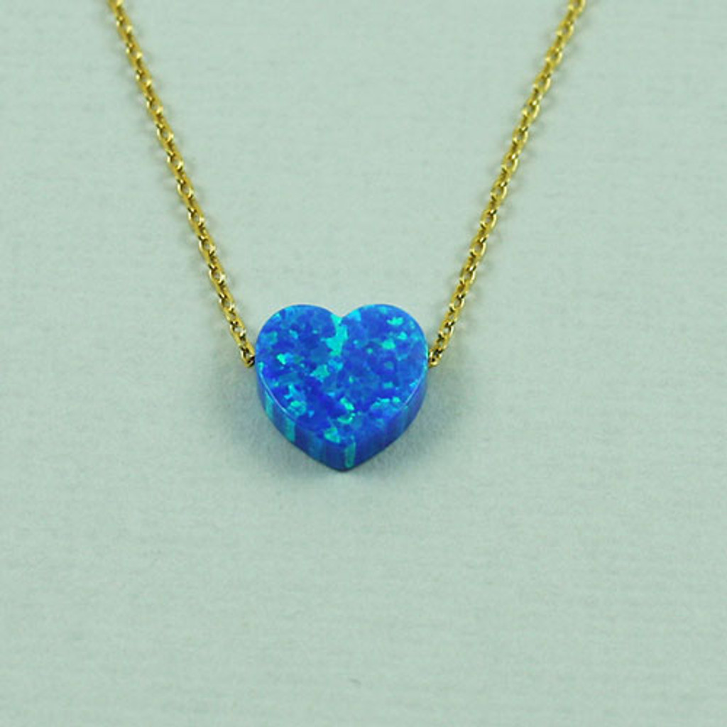Blue Resin Opal Heart Necklace