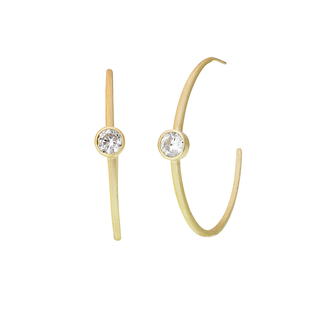 """2"""" Size Matt Gold Hoop with Solitaire Crystal"""