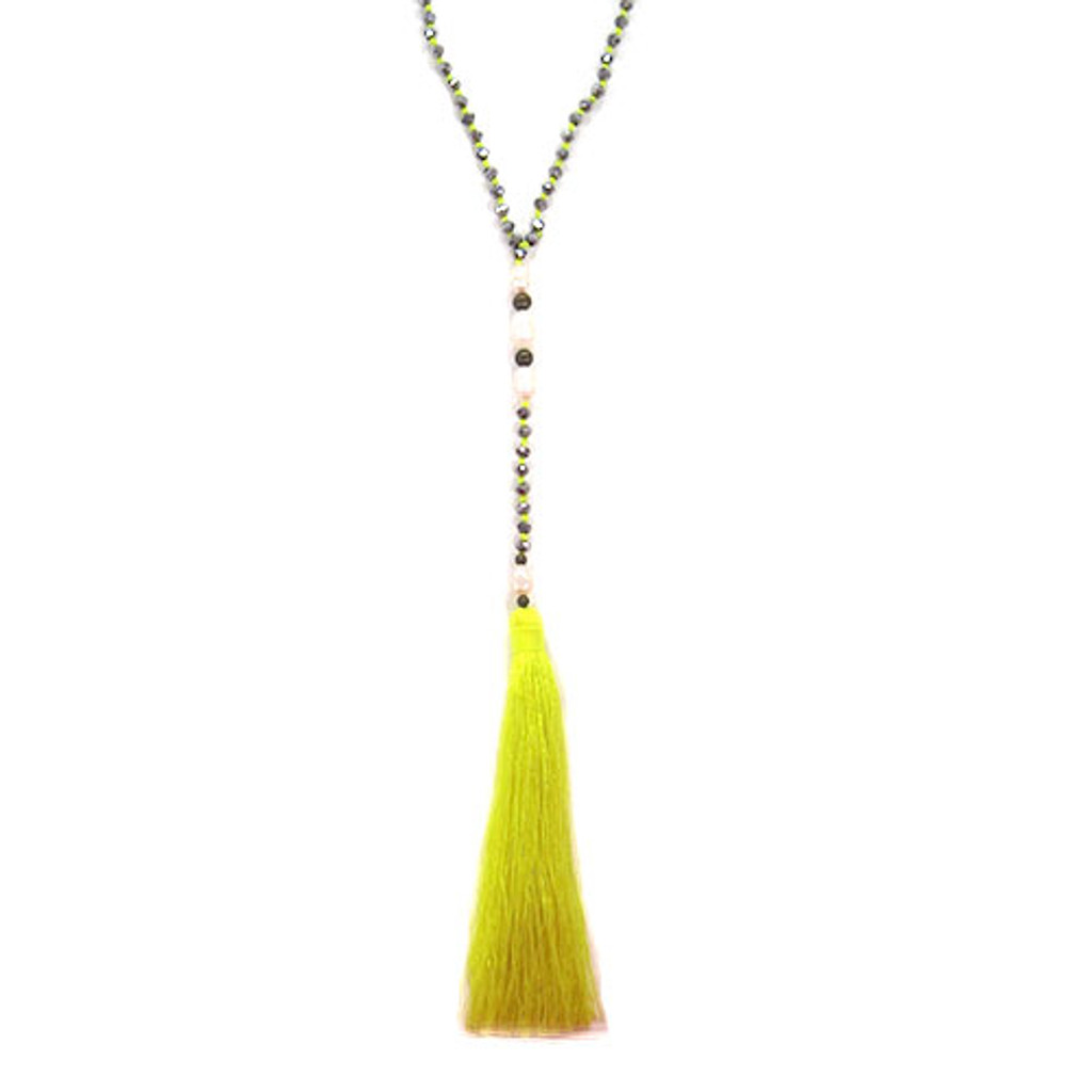 Zacasha's Bohemian Chic Crystals and Pearls Tassel Necklace 3