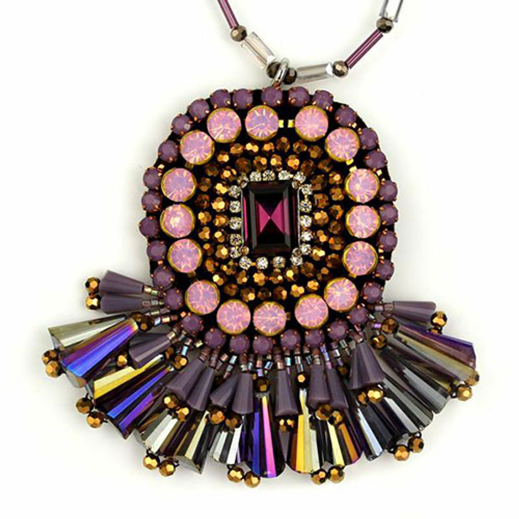Long Amethyst, Pink, and Bronze Medallion Pendant