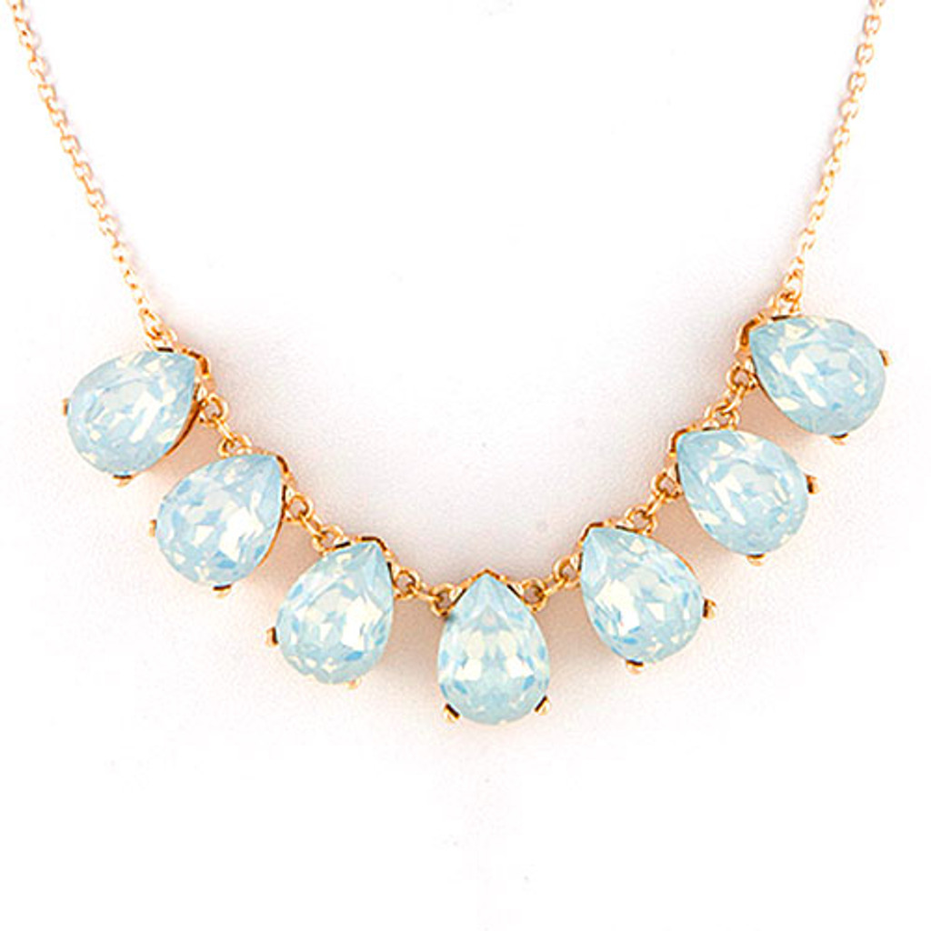 White Opal Crystal Teardrops Necklace