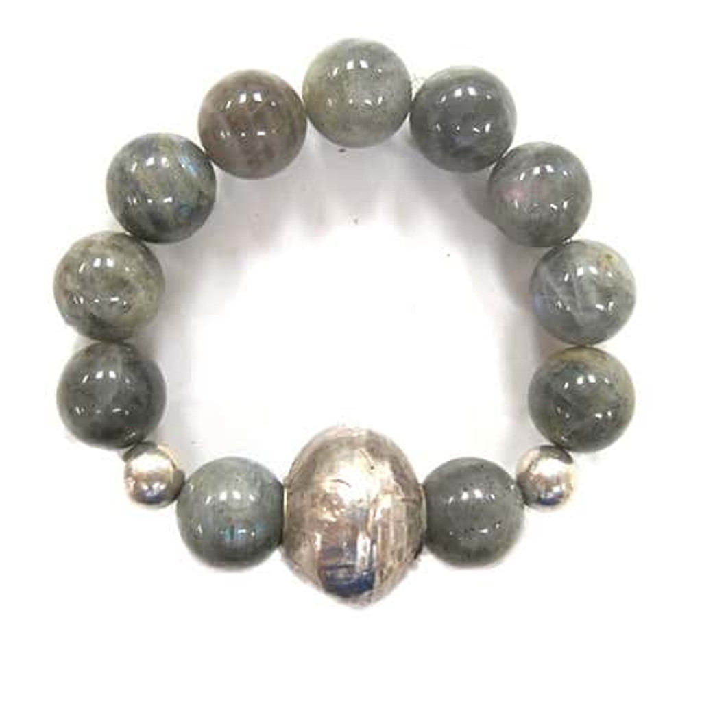 Chunky Labradorite with Oxidized large Silver Bead