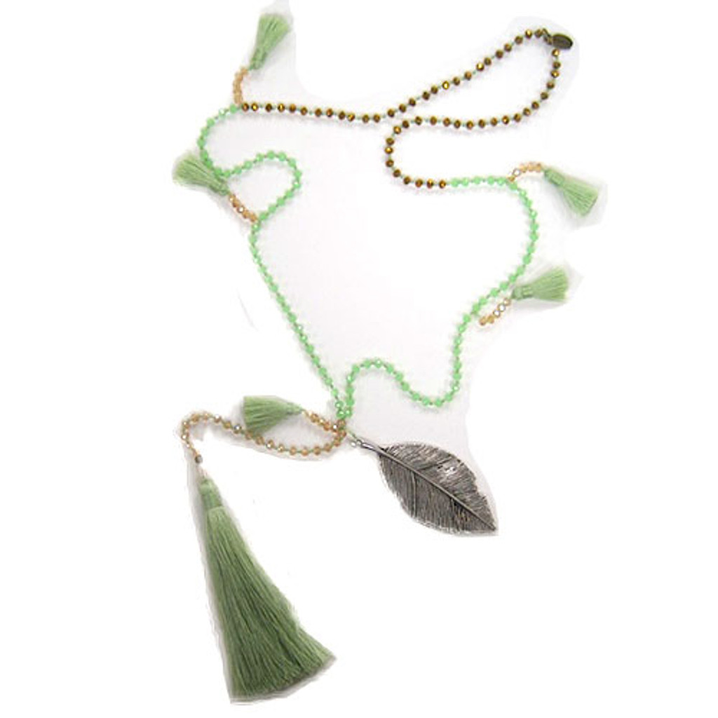 Zacasha's Crystals, Leaves and  Mint Tassels Necklace