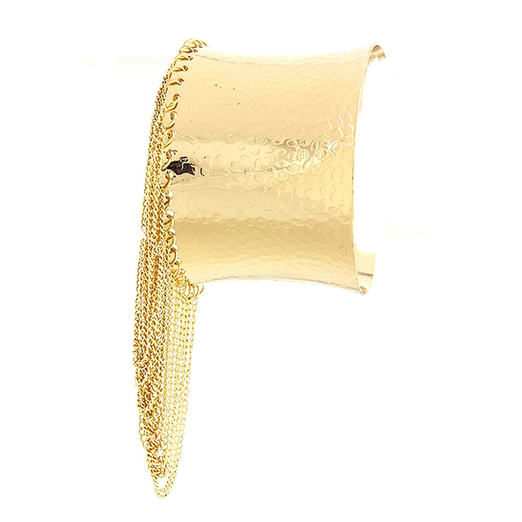 Beyonce Cuff With Fringe Gold