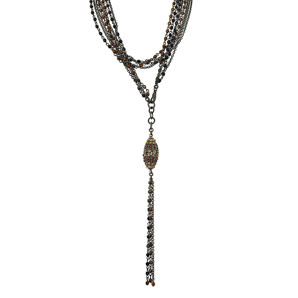Coppery Crystals with Elongated Pendant Necklace