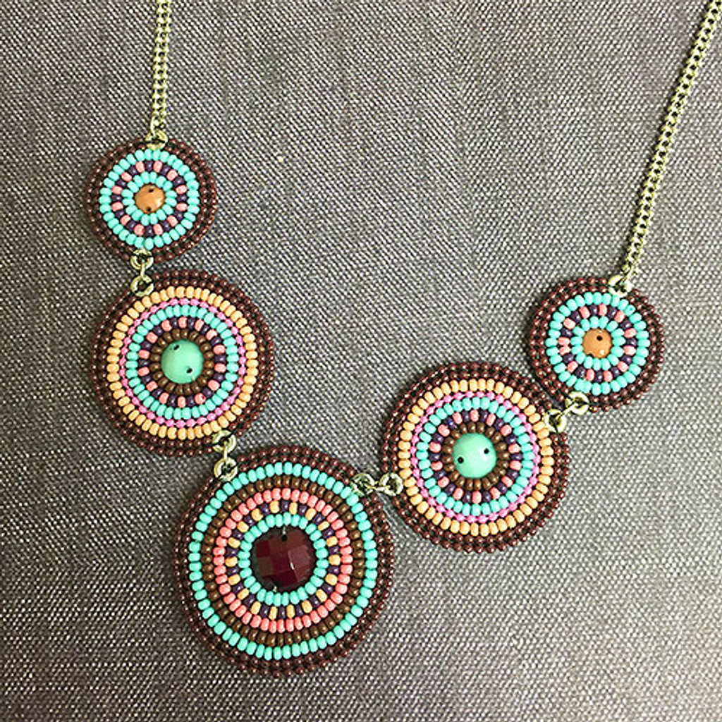 Concentric Beaded Circles Necklace 2
