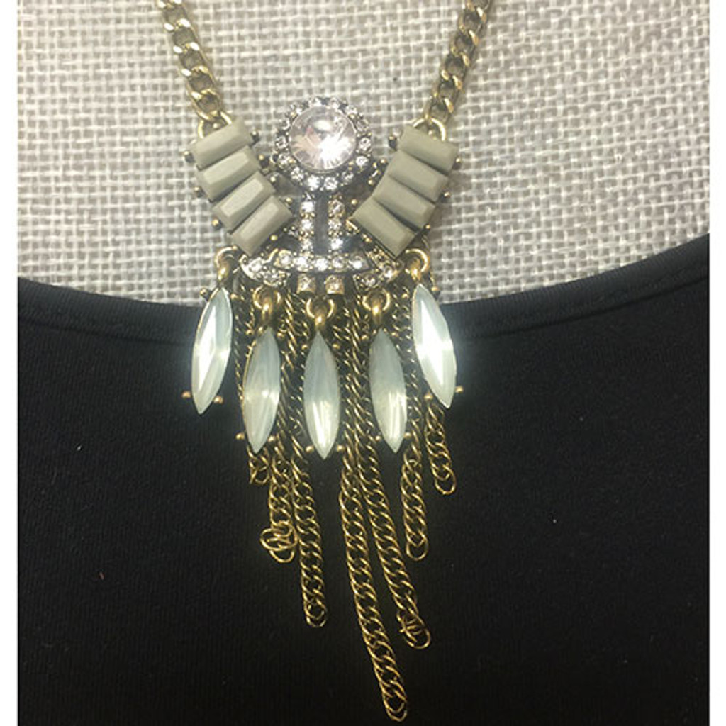 Gray Deco and Fringe Layered Medallion
