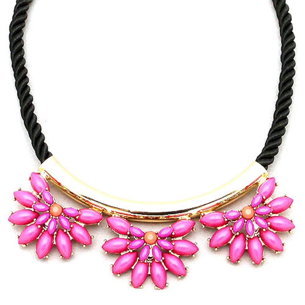 Black Cord with Pink Flowers