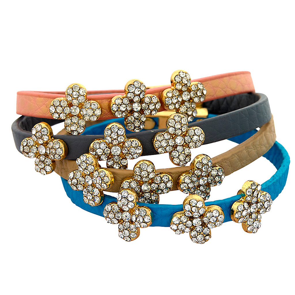 Triple Pave Clover Leather Bracelet