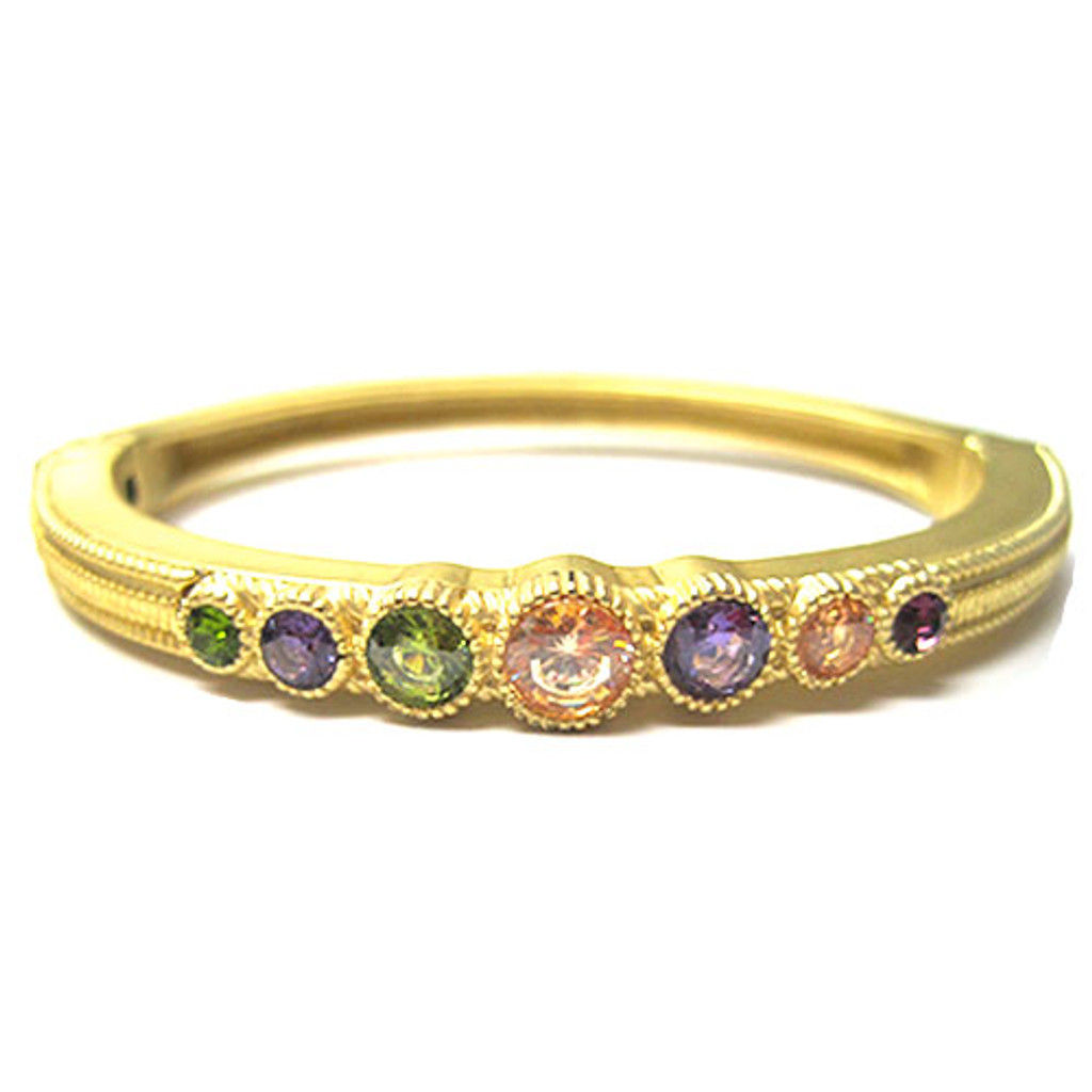 Matte Bangle with Multicolor CZ Stations