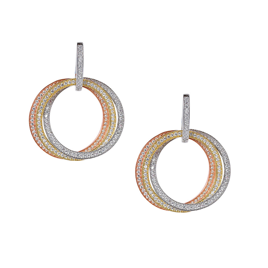 Tri-Colored 3 in 1 Earrings