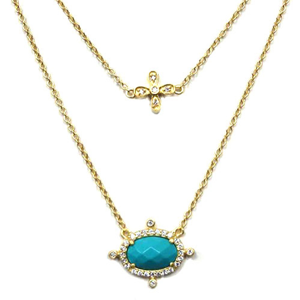 Freida Rothman's Turquoise and Dart Double Chain Necklace