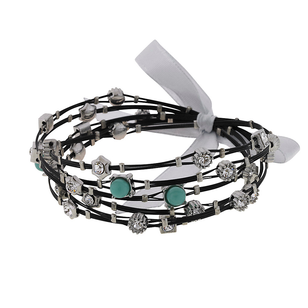 Turquoise and Crystal Black Steel Whisper Bracelets