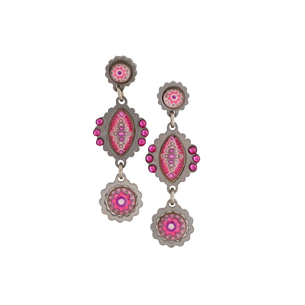 Elongated Pink Patterned Freeform Earring