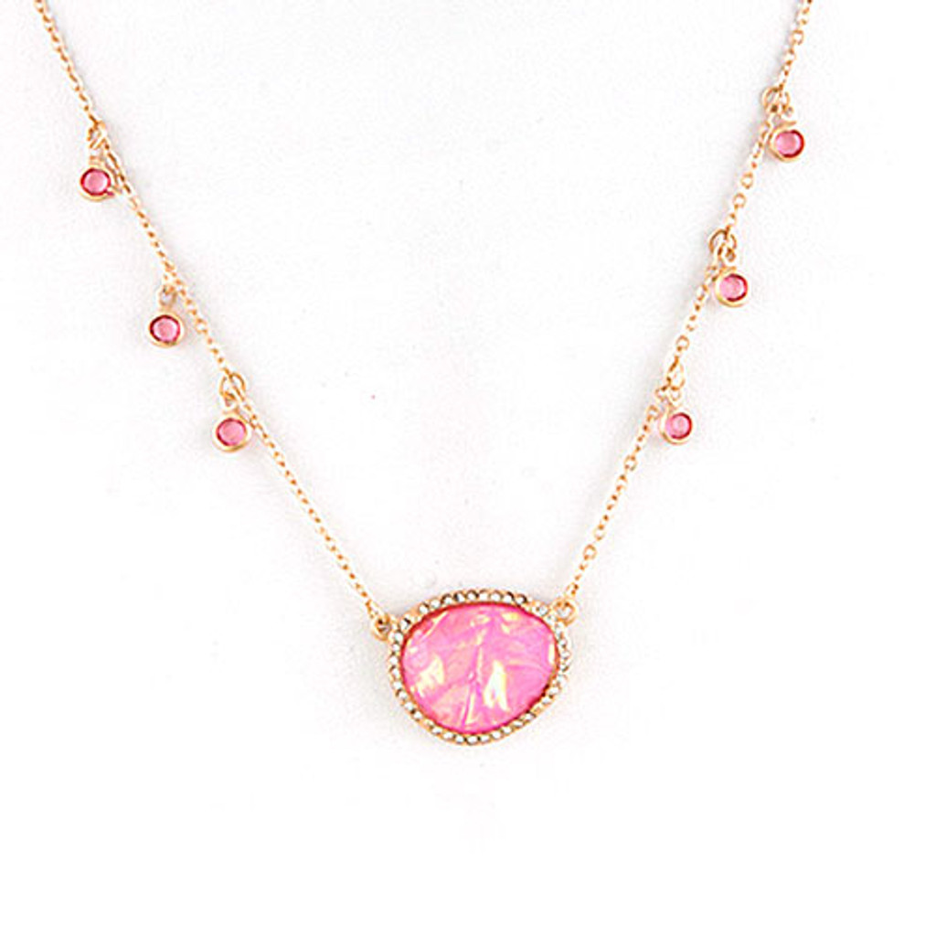 Pink Opal Resin Oval Necklace