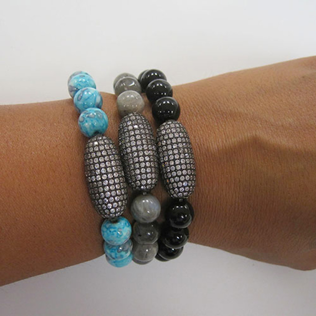 Black Fossil Agate with Pave Bead Bracelet