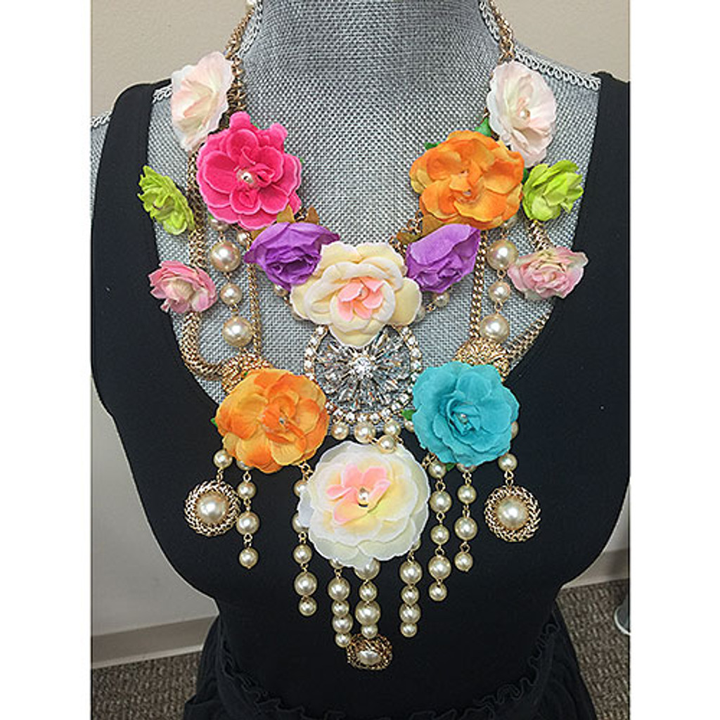 Colorful Flowers with Crystal Accents Statement Bib