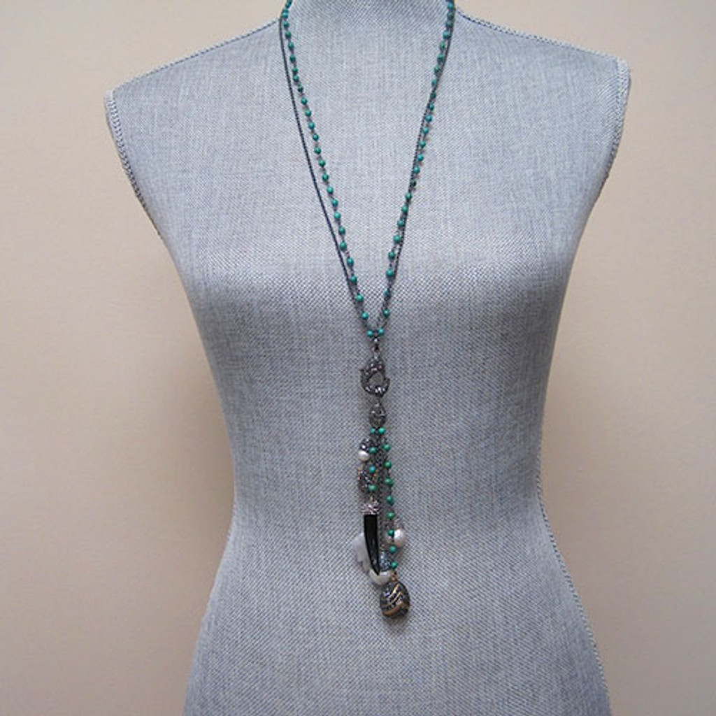 Semi-Precious Green Beads with Charms