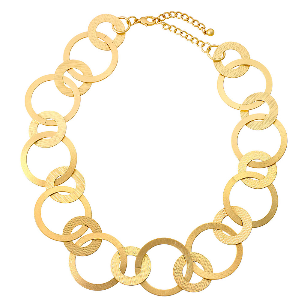 Short Textured Circle Necklace Gold
