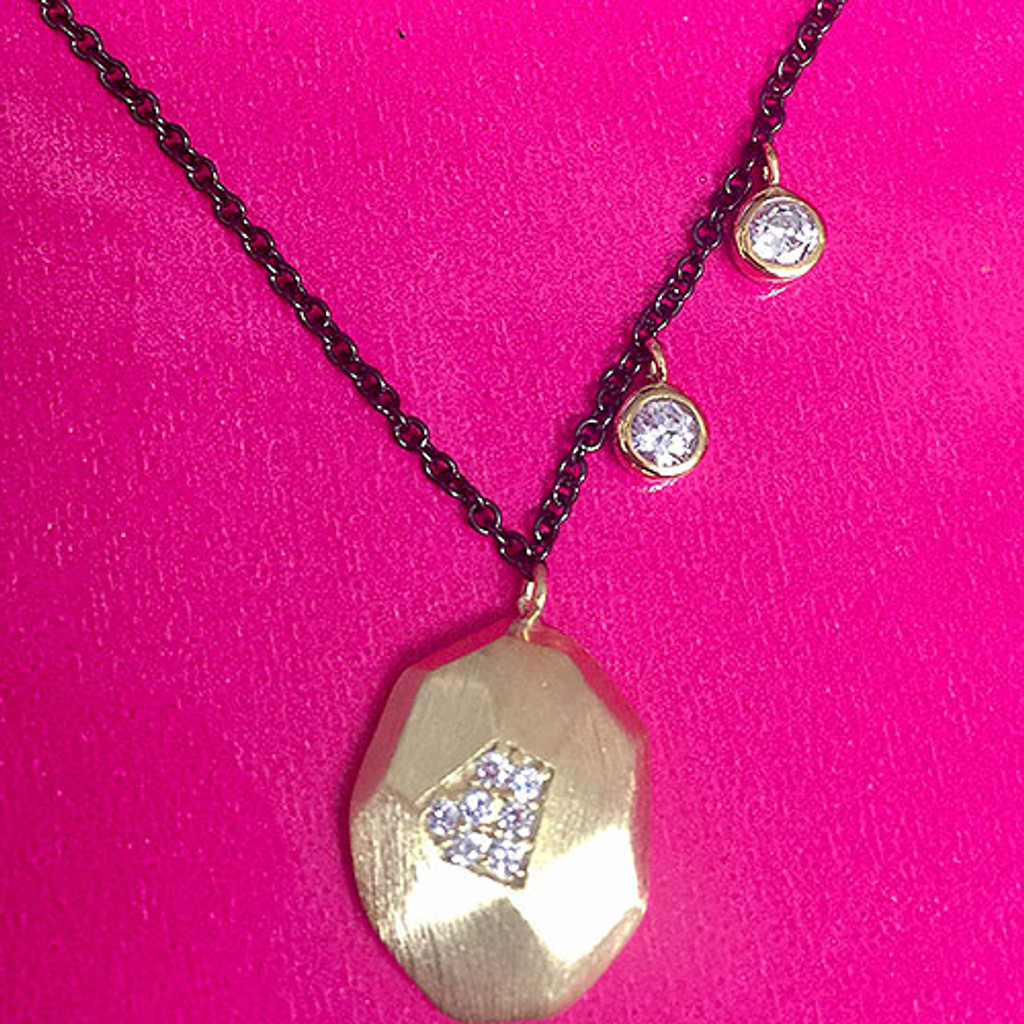 Gunmetal & Gold Nugget and CZ Necklace