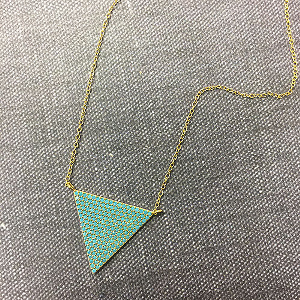Gold and Turquoise Beaded Pave Triangle