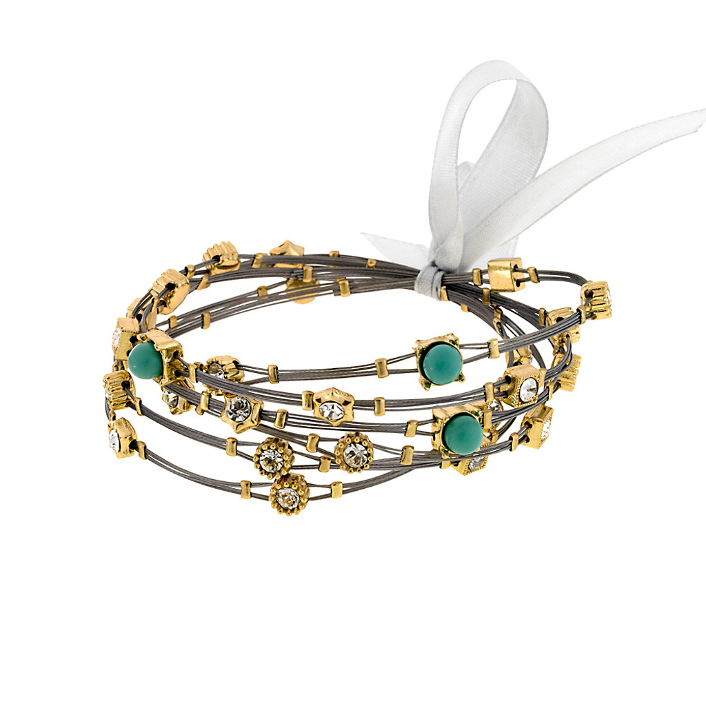 Turquoise and Crystal Whisper Bracelets G