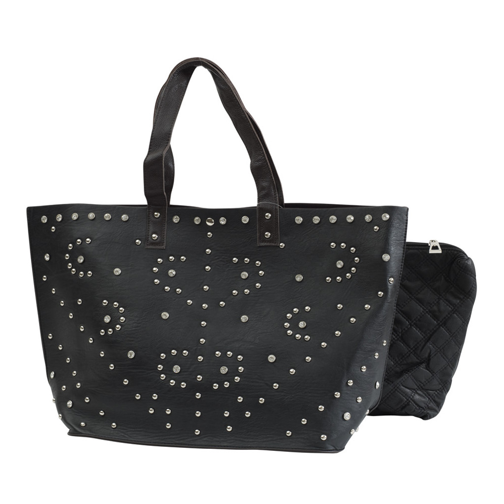 Dark Chocolate Brown Studded Leather Tote