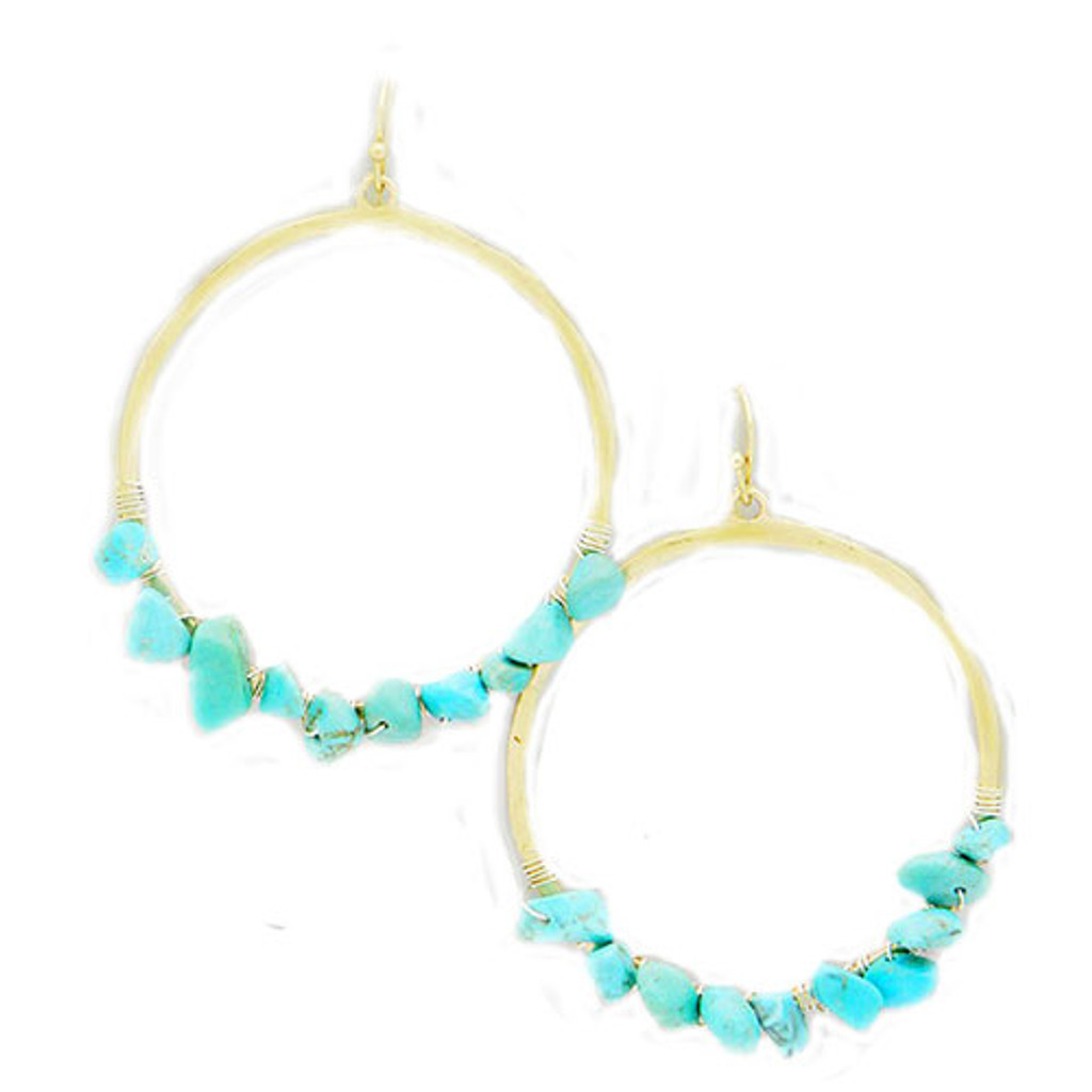 Organic Wire-Wrapped Turquoise Hoop Dangles