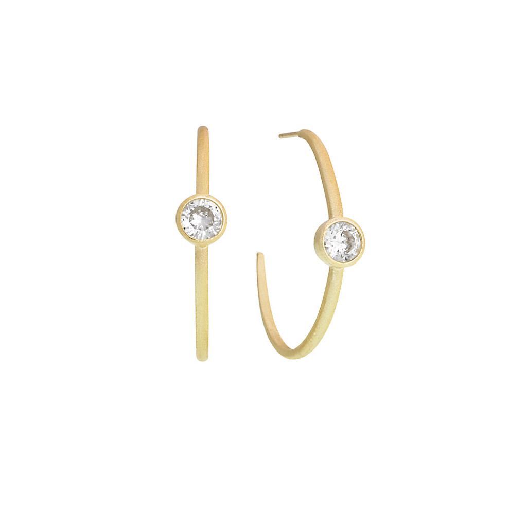 """1 1/2"""" Size Matt Gold Hoop with Solitaire Crystal"""