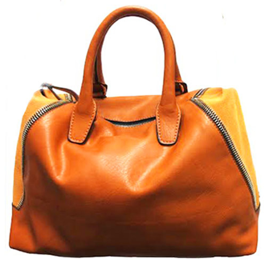 Sondra Roberts's Nappa Leather and Suede Satchel In Camel