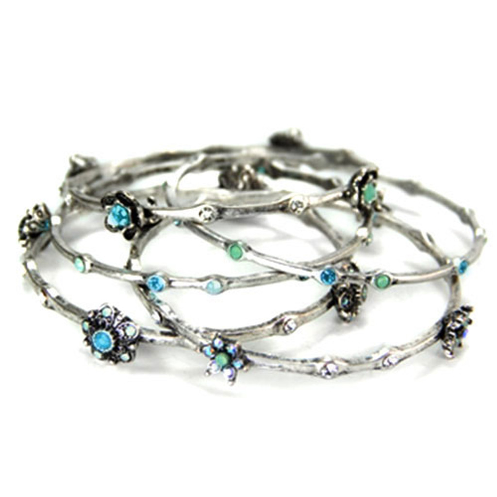 Set Of Five Stackable Silver Bangles