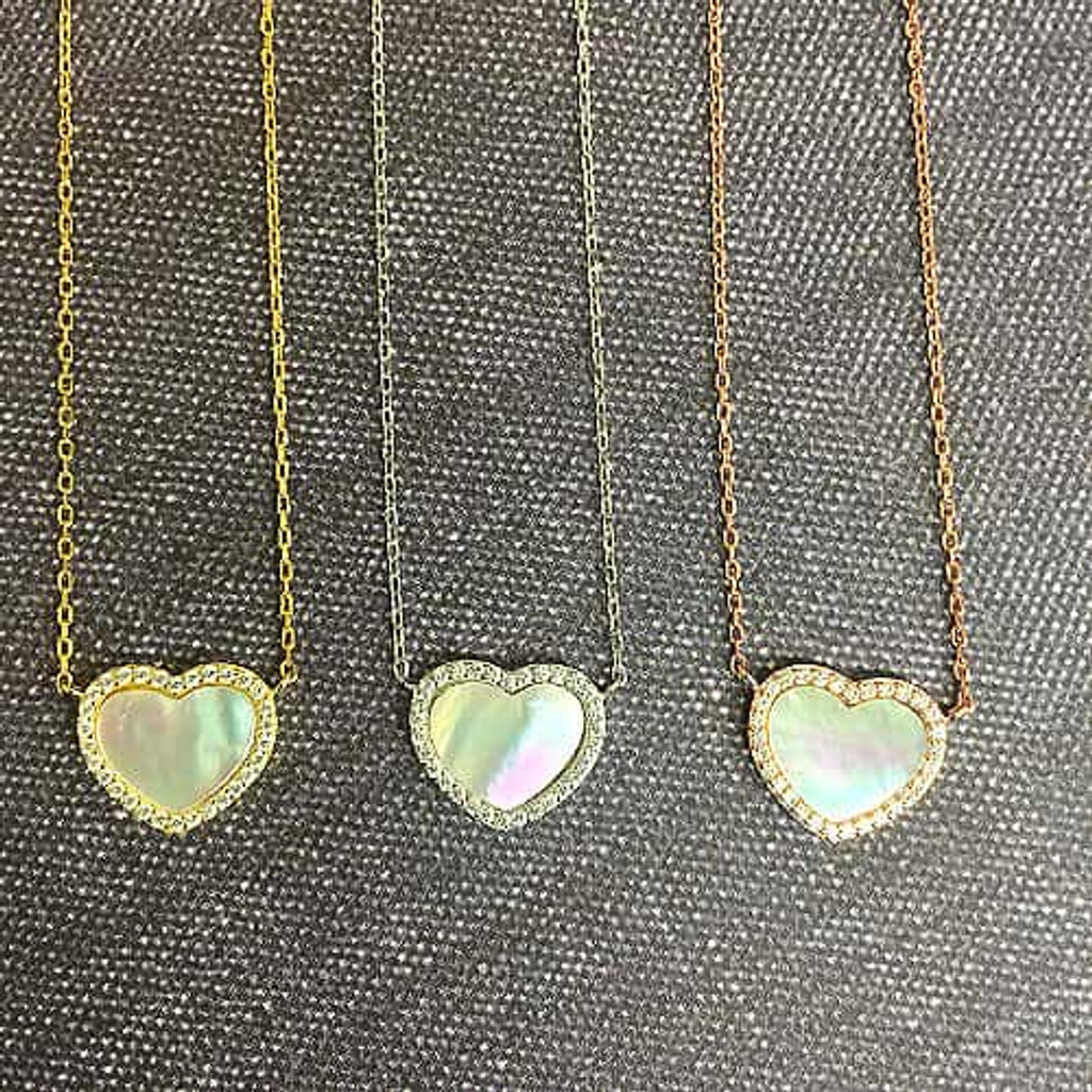 Rose Gold & Mother-of-Pearl Heart Necklace