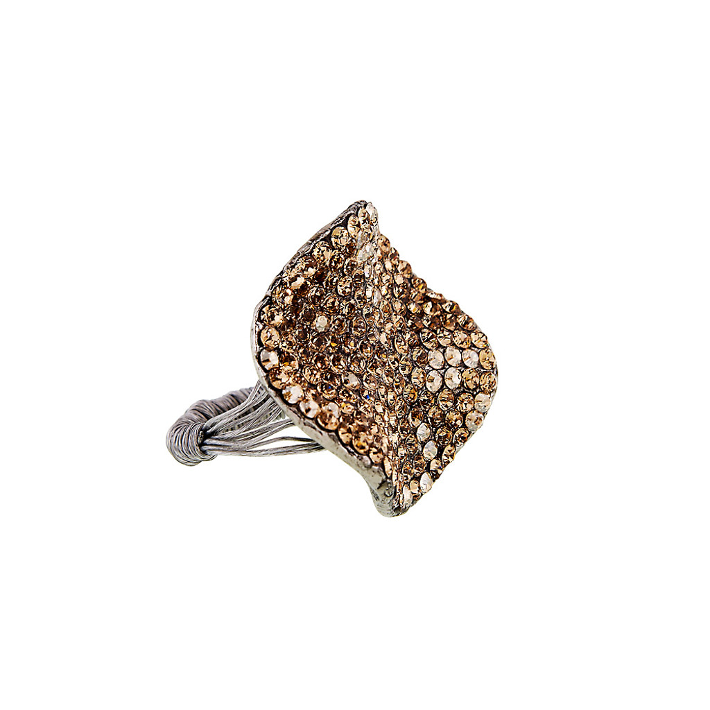 Large Light Colorado Topaz Crystal Pave Ring