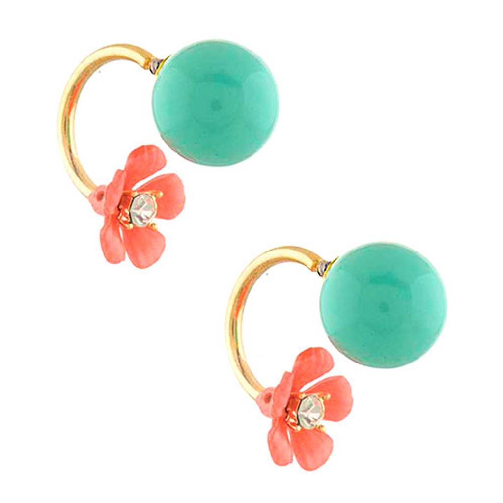 Bubble Button with Peek-a-Boo Flower Earring Mint