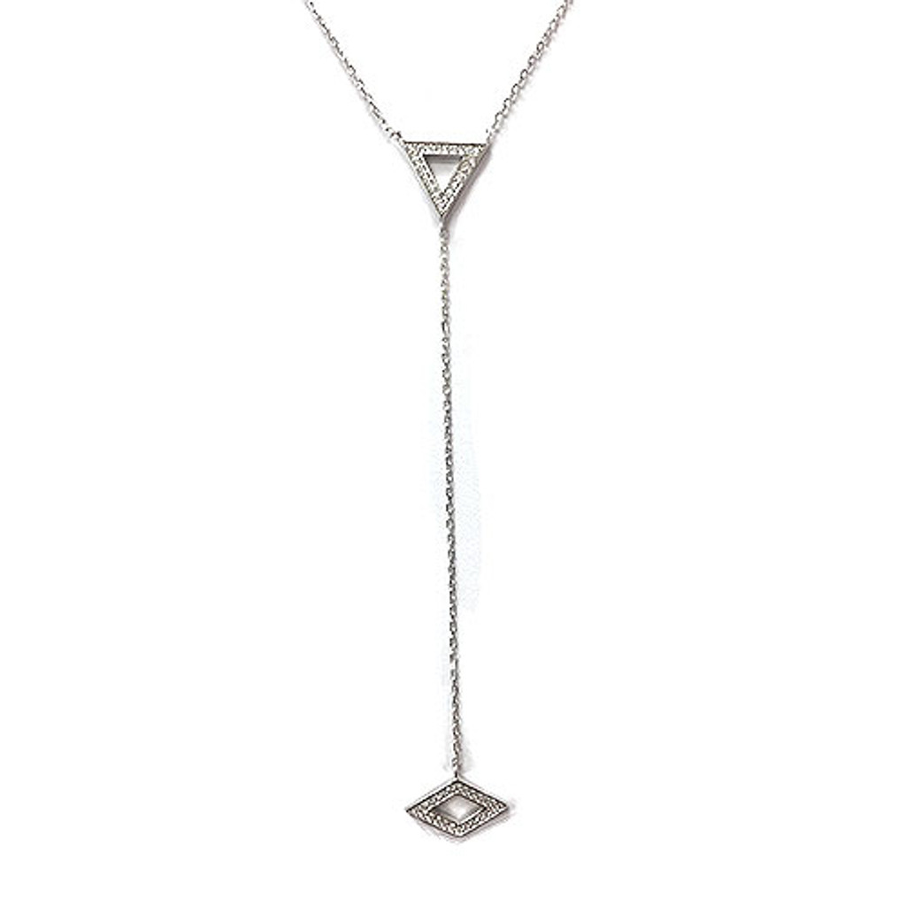 Sterling Silver Triangle and Diamond Y-Necklace