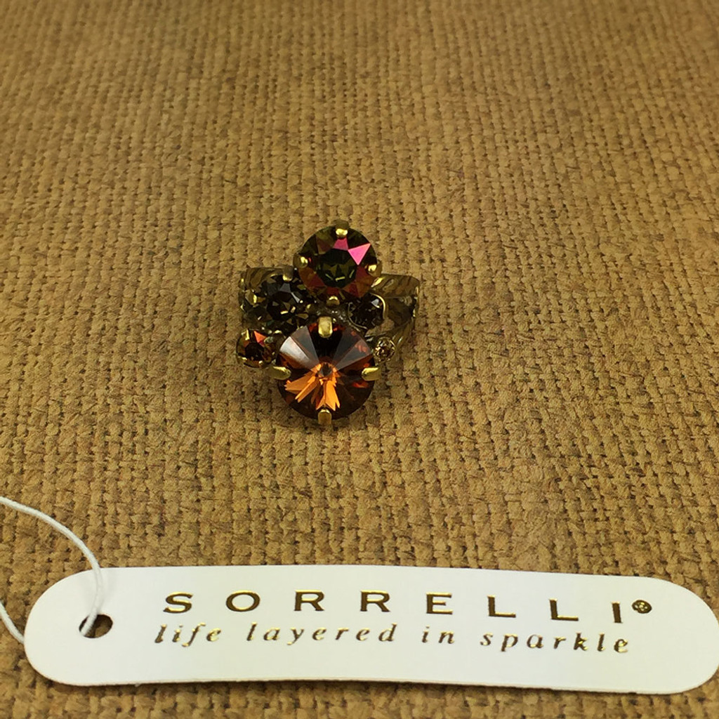 Sorrelli Green Tapestry Round Stone Crystal Cluster Ring