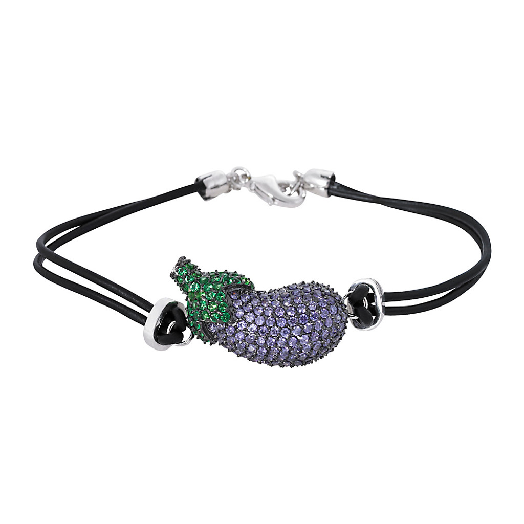 Pavé Eggplant Leather Bracelet