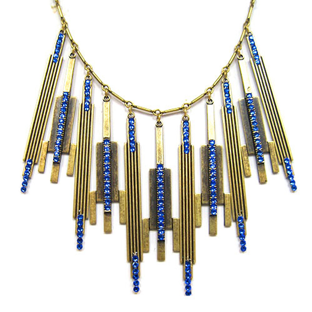 Sapphire Vintage Deco Dangle Necklace