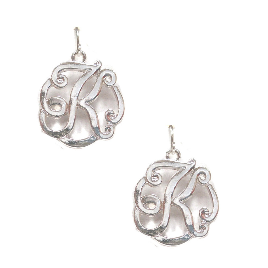 Silver Script Initial Monogram Earrings