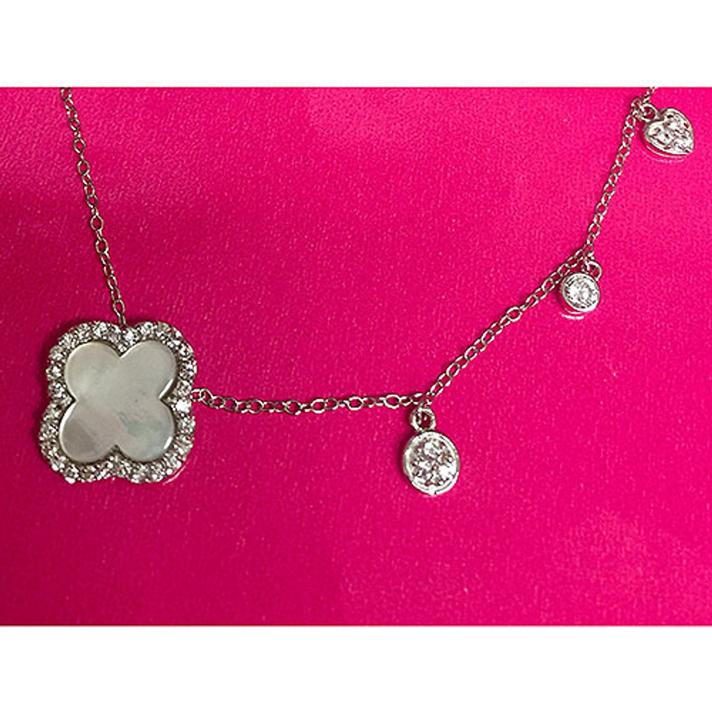 Stunning Mother-of-Pearl Clover with Crystal Charms