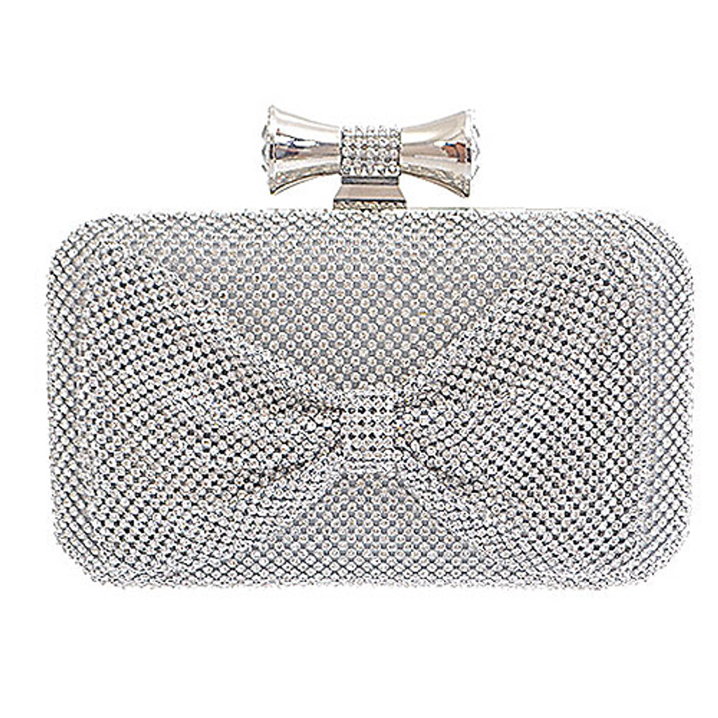 Silver Crystalized Bow Clutch