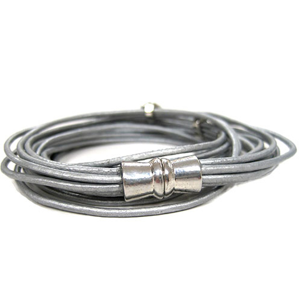 Wrap Style Platinum Leather Cord Bracelet