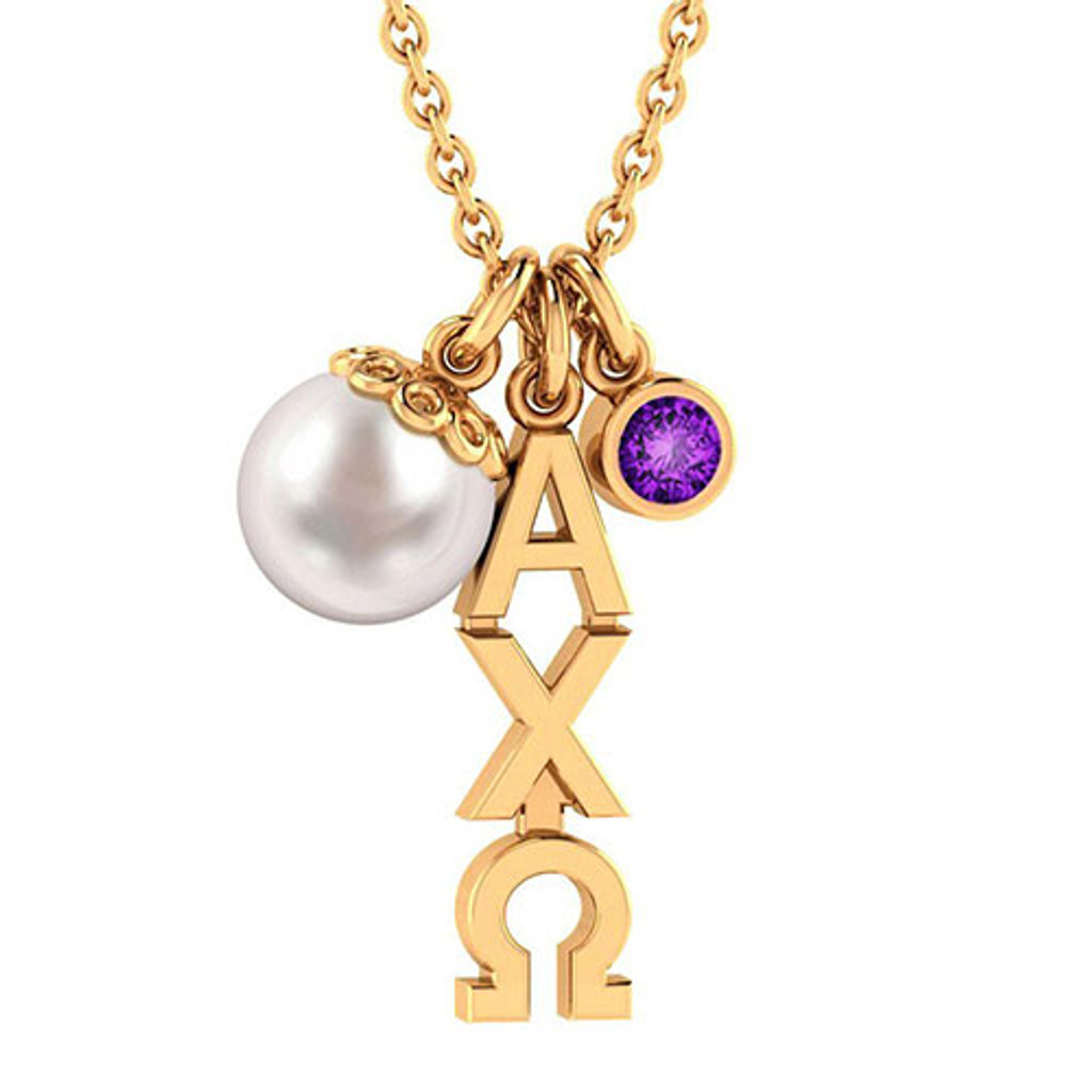Alpha Chi Omega Gold Triple Charm Necklace