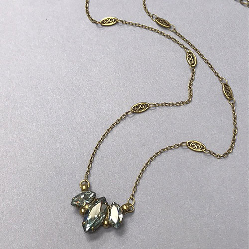 Blue Pebble Gold Trifecta Necklace