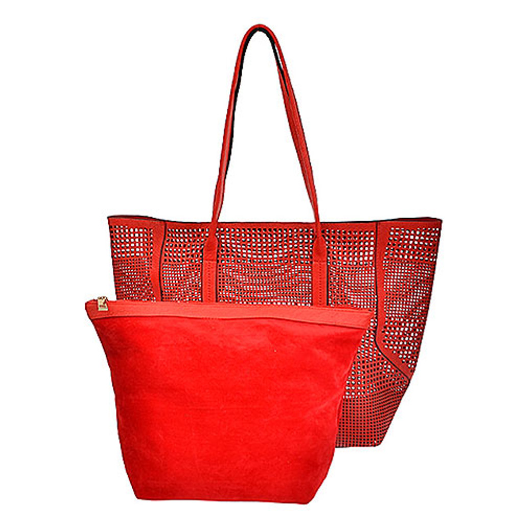 Open Weave Red Straw Tote