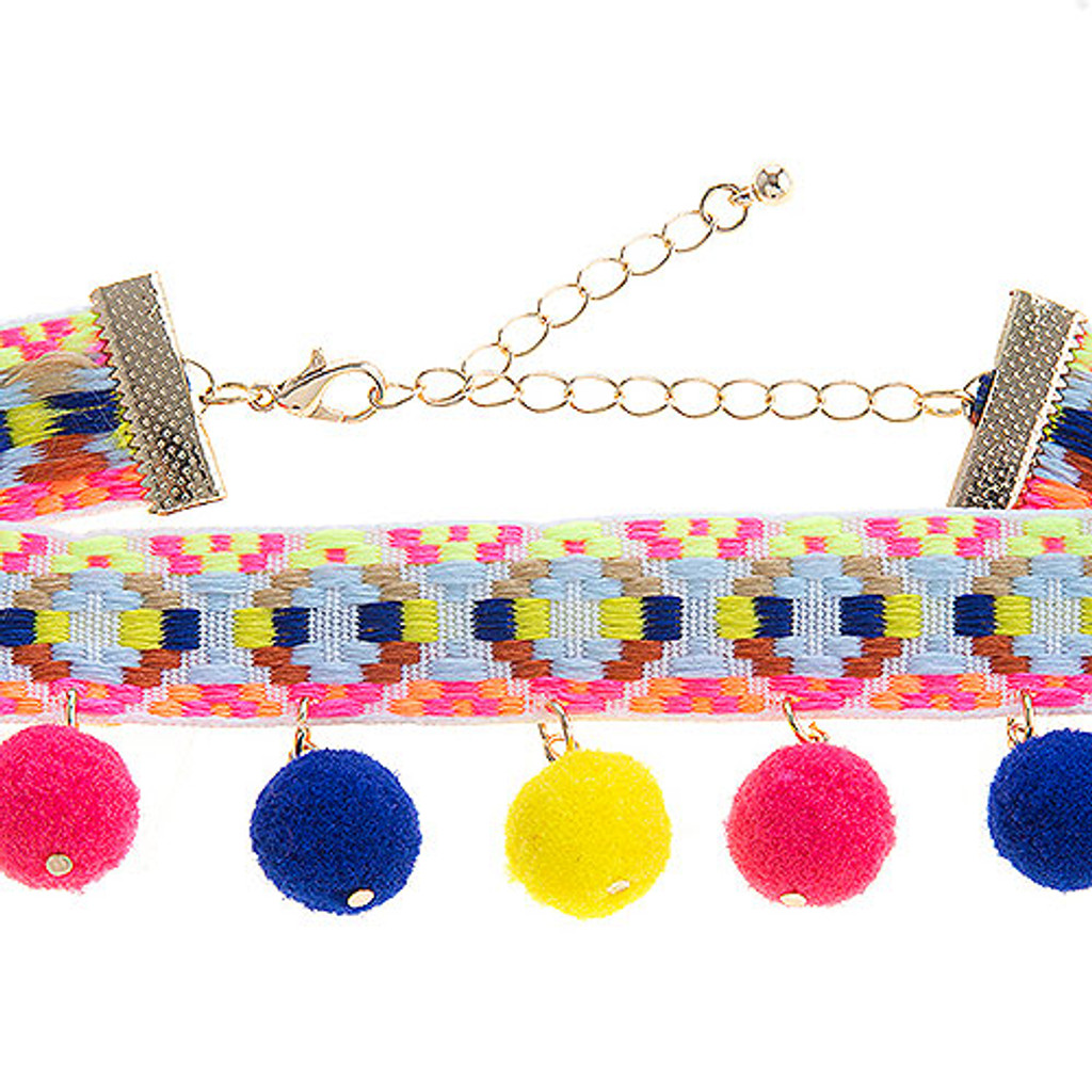 White Hippie Band Choker with Multi Pom Poms