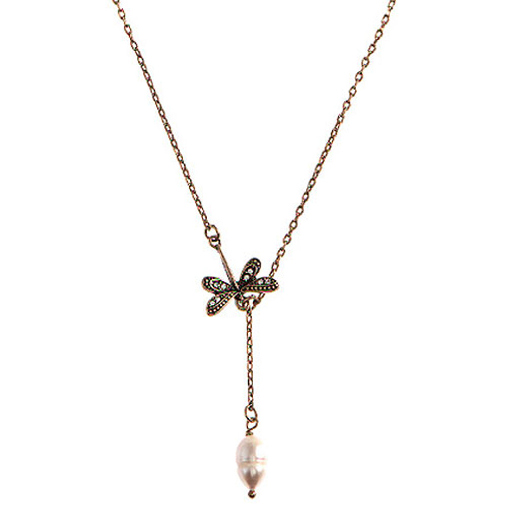 Dragonfly and Pearl Y-Necklace 1