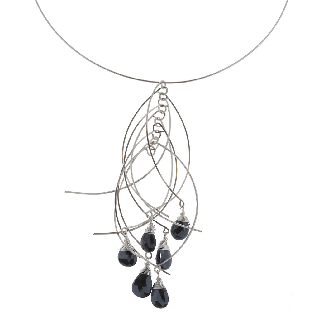 Zia's Silver Sticks And Jet Stones Short Necklace