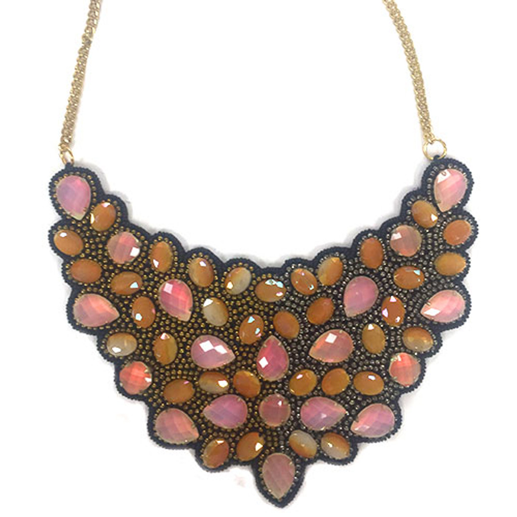 Bronze and Opal Ombre Statement Bib Necklace